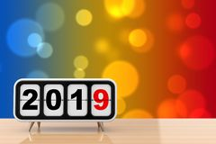 Retro Flip Clock with 2019 New Year Sign. 3d Rendering. Retro Flip Clock with 2019 New Year Sign on a wooden table. 3d Rendering royalty free illustration