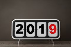 Retro Flip Clock with 2019 New Year Sign. 3d Rendering. Retro Flip Clock with 2019 New Year Sign on a wooden table. 3d Rendering stock illustration