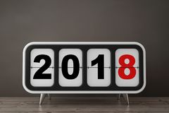 Retro Flip Clock with 2018 New Year Sign. 3d Rendering Stock Photography