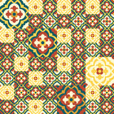 Retro Floor Tiles patern. Floor tiles - seamless vintage pattern with quatrefoils. Patchwork style pattern. Seamless vector background. Plain colors - easy to Royalty Free Stock Image