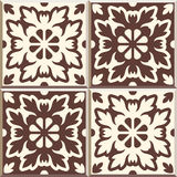 Retro Floor Tiles patern, set of four patterns. Set of four Floor tiles - seamless vintage pattern with cement tiles. Seamless vector background. Vector Stock Image