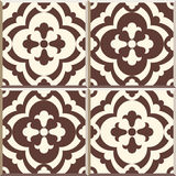 Retro Floor Tiles patern, set of four patterns. Set of four Floor tiles - seamless vintage pattern with cement tiles. Seamless vector background. Vector Stock Photo