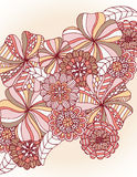 Retro Floral. Variety of hand drawn flowers in retro colors Stock Photography