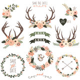 Retro Floral Antlers Collection Royalty Free Stock Images