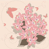 Retro floral background. Retro stylized floral background - orchids and butterflies royalty free illustration