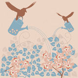 Retro floral background. Vintage poster - birds pouring flowers Stock Photography
