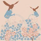 Retro floral background. Vintage poster - birds pouring flowers Vector Illustration