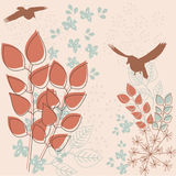 Retro floral background. Retro stylized abstract floral background with birds vector illustration