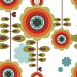Retro floral background. Repeat retro pattern in colors orange, brown and green Royalty Free Stock Images