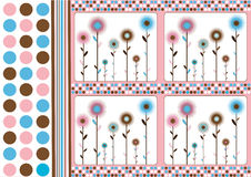 Retro floral background. Abstract background with dots and flowers in retro style vector illustration