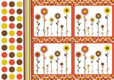 Retro floral background. Abstract background with dots and flowers in retro style royalty free illustration
