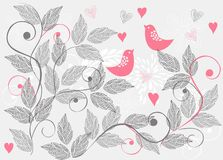 Retro floral background with birds Stock Photos