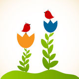 Retro floral background with birds Royalty Free Stock Image