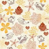 Retro floral background with birds in vector. Elements of design seamless backgrounds, plants, flowers with birds  in vector Royalty Free Stock Photo