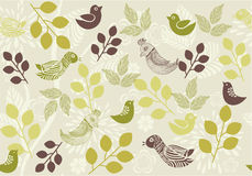 Retro floral background with birds in vector. Elements of design seamless backgrounds, plants, flowers and birds in vector Royalty Free Stock Photos