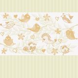 Retro floral background with birds (vector) Royalty Free Stock Photography