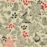 Retro floral background with butterflies in vector Stock Images