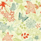 Retro floral background with butterflies in vector Royalty Free Stock Photo