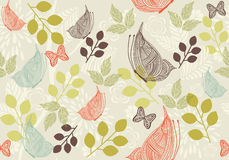 Retro floral background with butterfly in vector. Floral seamless backgrounds for design of fabrics and wallpapers Stock Photography