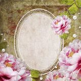 Retro floral background with frame and flowers Royalty Free Stock Photography
