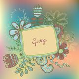 Retro floral background, frame with flowers Stock Photography