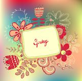 Retro floral background, frame with flowers Stock Images