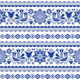 Scandinavian seamless vector pattern with flowers and birds, Nordic folk art repetitive navy blue ornament. Retro floral background inspired by Swedish and Stock Photos