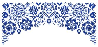 Folk art frame border retro vector greeting card design, floral ornament inspired by Scandinavian art Royalty Free Stock Images
