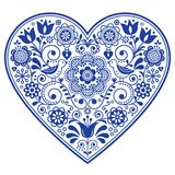 Scandinavian seamless vector pattern with flowers, Nordic folk art repetitive navy blue ornament. Retro floral background inspired by Swedish and Norwegian Royalty Free Stock Images