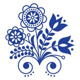 Scandinavian folk art ornament with flowers, Nordic floral design, retro background in navy blue royalty free illustration