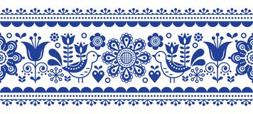 Scandinavian seamless vector pattern with flowers and birds, Nordic folk art repetitive navy blue ornament. Retro floral background inspired by Swedish and Royalty Free Stock Photo
