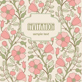 Retro floral background for invitation or card design Stock Photo