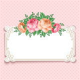 Retro floral background. Invitation or greeting card template with roses in retro style. Vector Illustration vector illustration