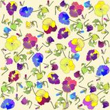 Retro floral background. Pansies Royalty Free Stock Images
