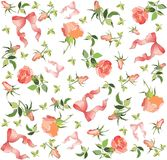 Retro floral background. Rose, bow. Stock Image