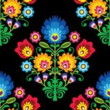 Seamless folk art vector pattern - Polish traditional repetitive design with flowers - wycinanki lowickie. Retro floral background, Slavic colorful textile or stock illustration