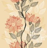 Retro floral background in vector. An abstract retro floral pattern with an  of red flowers set against a gold yellow gradient background in vector Stock Image