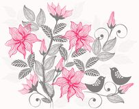 Retro floral background in vector. Flower seamless pattern, element for design Stock Photos
