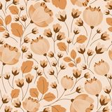 Retro floral beige and brown seamless pattern Royalty Free Stock Photography