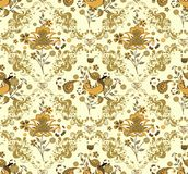 Retro Floral and Bird Pattern Royalty Free Stock Photo