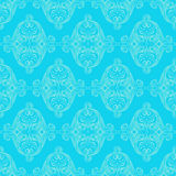 Retro floral blue pattern. Seamless blue pattern with antique flowers and leafs Royalty Free Stock Photos
