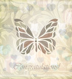 Retro floral butterfly vector stock illustration