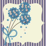 Retro floral card. Retro stylized greeting card background stock illustration