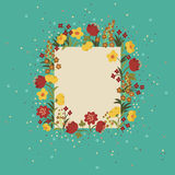 Retro floral card Stock Photo