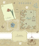 Retro floral card for events stock illustration