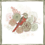 Retro floral decoration with bird Royalty Free Stock Images