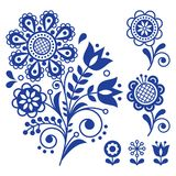 Floral vector design, folk art vector ornament with flowers, Scandinavian navy blue pattern. Retro floral design inspired by Swedish and Norwegian traditional Stock Photography