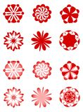 Retro floral designs. A set of simple floral designs on white background, for many uses. Solid colour and gradient variants Stock Image