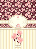 Retro floral frame with seamless pattern on dark Stock Photo