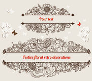 Retro floral frames. Vintage floral frames with space for text Royalty Free Stock Images